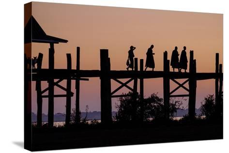 Sunset over U Bein Bridge, Taungthman Lake, U Bein, Amarapura, Myanmar (Burma), Asia-Nathalie Cuvelier-Stretched Canvas Print