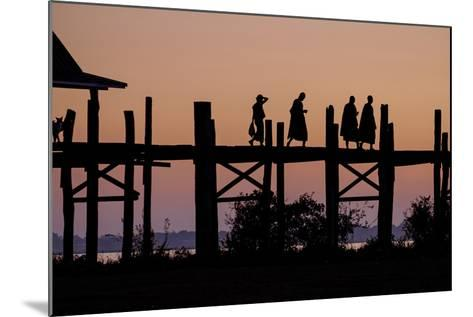 Sunset over U Bein Bridge, Taungthman Lake, U Bein, Amarapura, Myanmar (Burma), Asia-Nathalie Cuvelier-Mounted Photographic Print