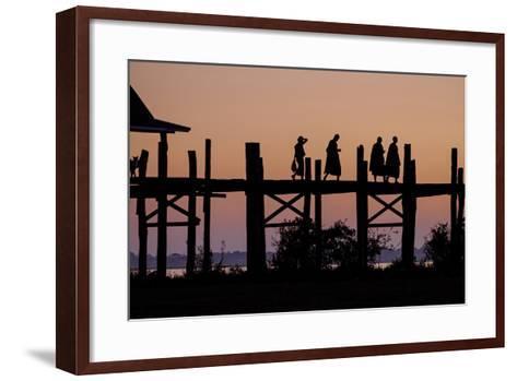 Sunset over U Bein Bridge, Taungthman Lake, U Bein, Amarapura, Myanmar (Burma), Asia-Nathalie Cuvelier-Framed Art Print