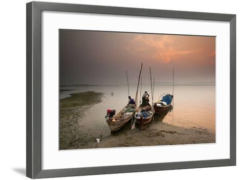 Fisherman Prepare to Set Out, Irrawaddy River, Myanmar (Burma), Asia-Colin Brynn-Framed Art Print