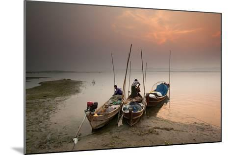 Fisherman Prepare to Set Out, Irrawaddy River, Myanmar (Burma), Asia-Colin Brynn-Mounted Photographic Print