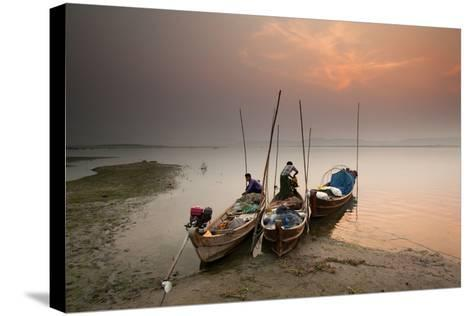 Fisherman Prepare to Set Out, Irrawaddy River, Myanmar (Burma), Asia-Colin Brynn-Stretched Canvas Print
