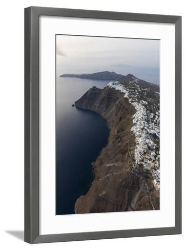 Aerial View of the Old Village of Firostefani, Santorini, Cyclades, Greek Islands, Greece, Europe-Roberto Moiola-Framed Art Print
