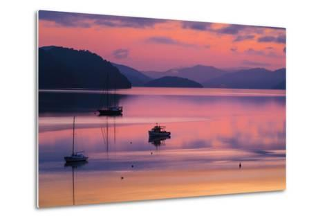 The Peaceful and Tranquil Waters of Queen Charlotte Sound at Dawn, South Island, New Zealand-Garry Ridsdale-Metal Print