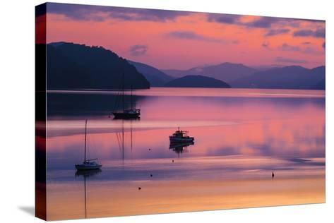 The Peaceful and Tranquil Waters of Queen Charlotte Sound at Dawn, South Island, New Zealand-Garry Ridsdale-Stretched Canvas Print