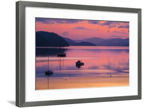 The Peaceful and Tranquil Waters of Queen Charlotte Sound at Dawn, South Island, New Zealand-Garry Ridsdale-Framed Art Print