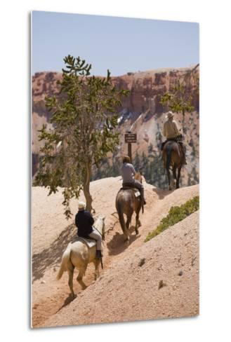 Horseback Riding Through Bryce Canyon National Park, Utah, United States of America, North America-Garry Ridsdale-Metal Print