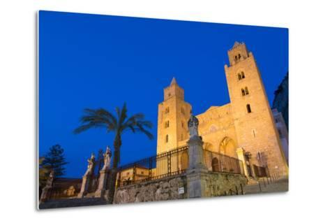 The Facade of the Norman Cathedral of Cefalu Illuminated at Night, Sicily, Italy, Europe-Martin Child-Metal Print