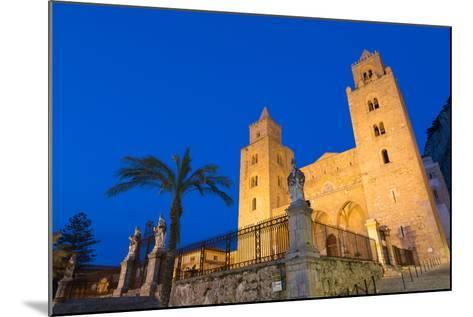 The Facade of the Norman Cathedral of Cefalu Illuminated at Night, Sicily, Italy, Europe-Martin Child-Mounted Photographic Print
