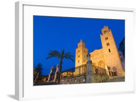 The Facade of the Norman Cathedral of Cefalu Illuminated at Night, Sicily, Italy, Europe-Martin Child-Framed Art Print