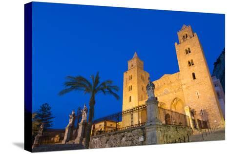 The Facade of the Norman Cathedral of Cefalu Illuminated at Night, Sicily, Italy, Europe-Martin Child-Stretched Canvas Print