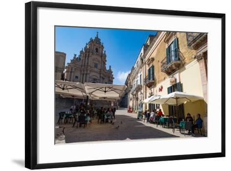 People Dining in Piazza Duomo in Front of Cathedral of San Giorgio in Ragusa Ibla-Martin Child-Framed Art Print