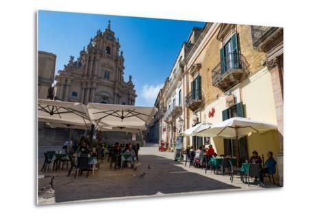 People Dining in Piazza Duomo in Front of Cathedral of San Giorgio in Ragusa Ibla-Martin Child-Metal Print