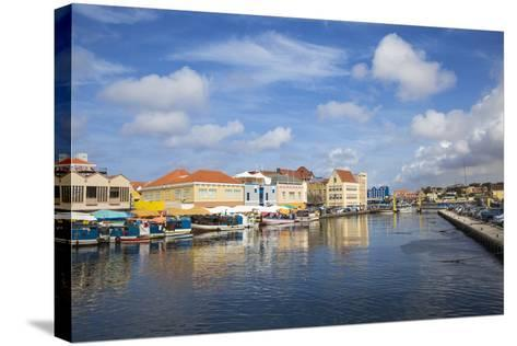 Venezuelan Boats at the Floating Market, Punda, UNESCO World Heritage Site, Willemstad, Curacao-Jane Sweeney-Stretched Canvas Print