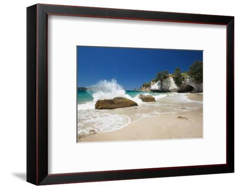 Waves Splashing Against Large Rocks on the Beach in Cathedral Cove, Coromandel, Waikato-Garry Ridsdale-Framed Art Print
