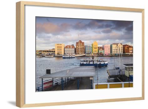 Otrobanda Ferry Terminal and Dutch Colonial Buildings on Handelskade Along Punda's Waterfront-Jane Sweeney-Framed Art Print