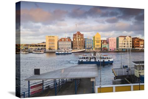 Otrobanda Ferry Terminal and Dutch Colonial Buildings on Handelskade Along Punda's Waterfront-Jane Sweeney-Stretched Canvas Print