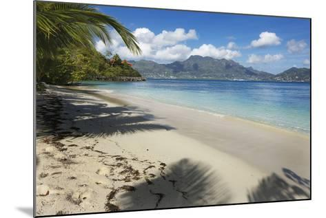 Palm Trees Providing Shade Along a Deserted Sandy Beach in the Seychelles, Indian Ocean, Africa-Garry Ridsdale-Mounted Photographic Print