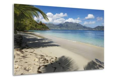Palm Trees Providing Shade Along a Deserted Sandy Beach in the Seychelles, Indian Ocean, Africa-Garry Ridsdale-Metal Print