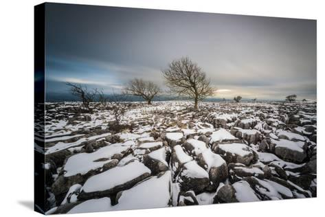 Twistleton Scar End in Snow, Ingleton, Yorkshire Dales, Yorkshire, England, United Kingdom, Europe-Bill Ward-Stretched Canvas Print