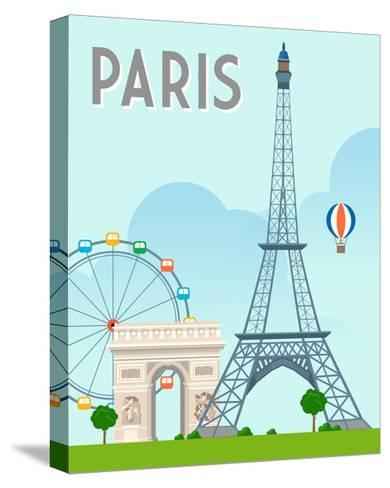 Destination Paris-The Trainyard Cooperative-Stretched Canvas Print