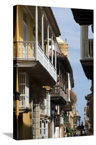 Typical Street with Balconies, Old Town, Cartagena (De Indias), Colombia-Natalie Tepper-Stretched Canvas Print
