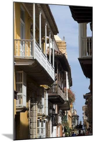 Typical Street with Balconies, Old Town, Cartagena (De Indias), Colombia-Natalie Tepper-Mounted Photo
