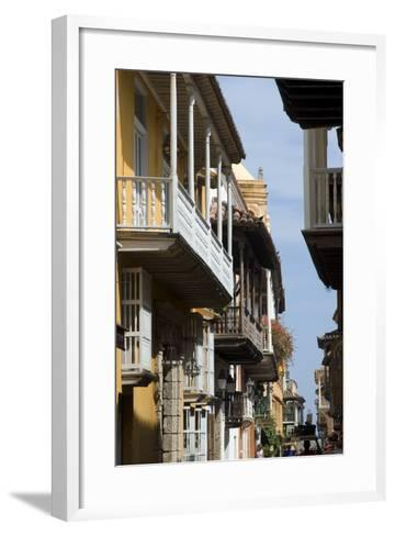 Typical Street with Balconies, Old Town, Cartagena (De Indias), Colombia-Natalie Tepper-Framed Art Print