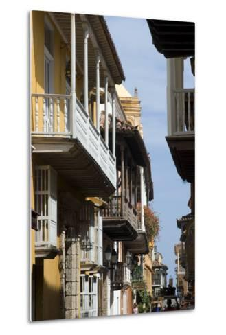 Typical Street with Balconies, Old Town, Cartagena (De Indias), Colombia-Natalie Tepper-Metal Print