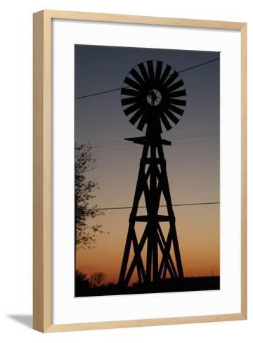 Silhouette of a Traditional Windmill at Sunset, Amarillo, Texas, Usa-Natalie Tepper-Framed Art Print