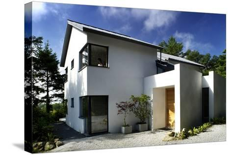 White Exterior of Front Entrance of Residential House with Gravel Driveway-Nigel Rigden-Stretched Canvas Print