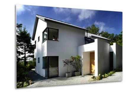 White Exterior of Front Entrance of Residential House with Gravel Driveway-Nigel Rigden-Metal Print