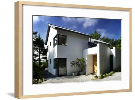 White Exterior of Front Entrance of Residential House with Gravel Driveway-Nigel Rigden-Framed Art Print