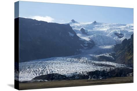 A Landscape View of a Glacier. With Snow Covered Mountains in the Background-Natalie Tepper-Stretched Canvas Print