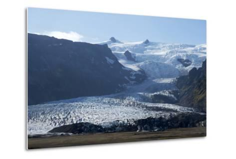 A Landscape View of a Glacier. With Snow Covered Mountains in the Background-Natalie Tepper-Metal Print