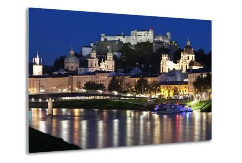 City at Night of Salzach River with Churches of Salzburg and Hohensalzburg Fortress, Austria-Julian Castle-Metal Print