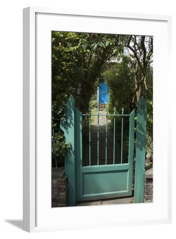 Front Gates with a Path Leading to a Blue Door, of a Residential House-Natalie Tepper-Framed Art Print