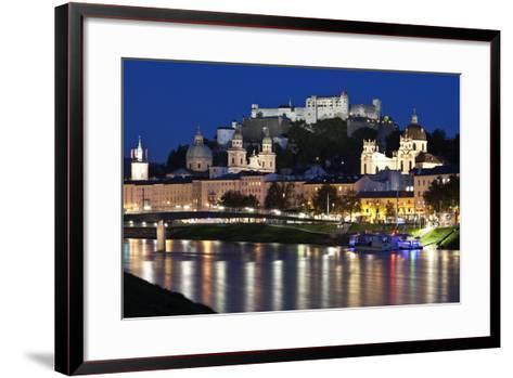 City at Night of Salzach River with Churches of Salzburg and Hohensalzburg Fortress, Austria-Julian Castle-Framed Art Print