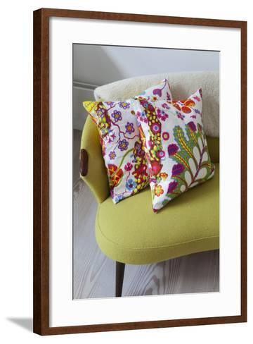 Floral Cushions on Retro Sofa in Living Room of London Family Home, UK-Pedro Silmon-Framed Art Print