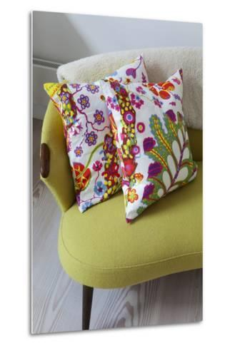 Floral Cushions on Retro Sofa in Living Room of London Family Home, UK-Pedro Silmon-Metal Print