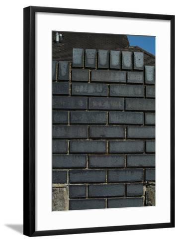 Close Up of a Grey Engineering Brick Wall-Natalie Tepper-Framed Art Print