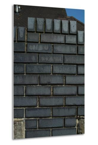Close Up of a Grey Engineering Brick Wall-Natalie Tepper-Metal Print