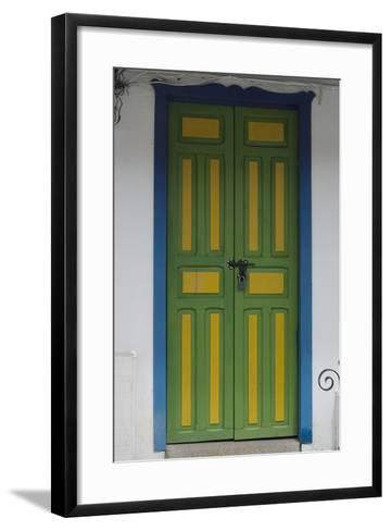 Painted Doorway in the Town of Salento, in the Coffee Growing Region, Colombia-Natalie Tepper-Framed Art Print