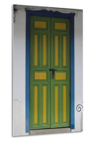 Painted Doorway in the Town of Salento, in the Coffee Growing Region, Colombia-Natalie Tepper-Metal Print