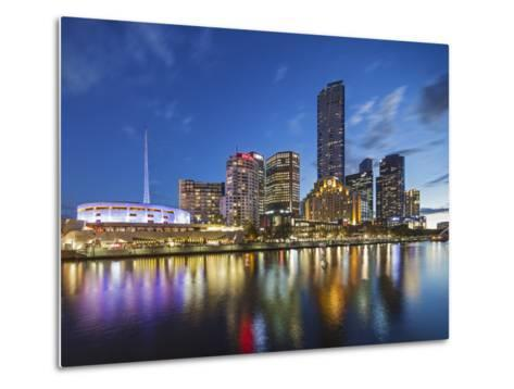 Melbourne Southbank Skyline, Eureka Tower and Hamer Hall over the Yarra River at Twilight-Cahir Davitt-Metal Print