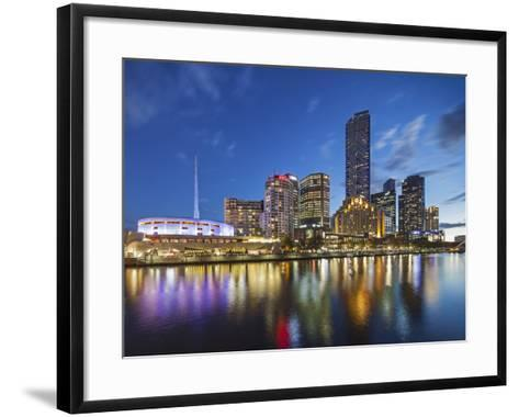 Melbourne Southbank Skyline, Eureka Tower and Hamer Hall over the Yarra River at Twilight-Cahir Davitt-Framed Art Print