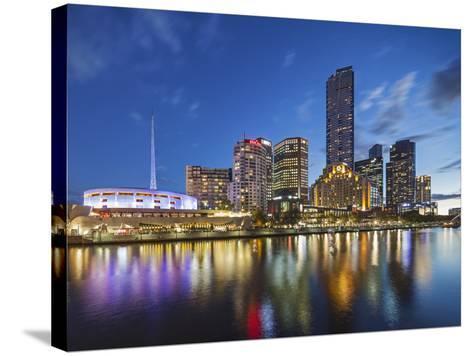 Melbourne Southbank Skyline, Eureka Tower and Hamer Hall over the Yarra River at Twilight-Cahir Davitt-Stretched Canvas Print