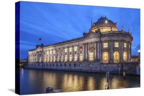 The Bode Museum on the Museum's Island in the Centre of Berlin. the River Spree in the Foreground.-David Bank-Stretched Canvas Print