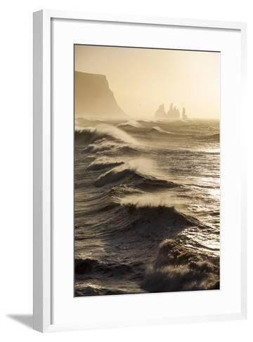 Iceland, Reynisfjara. Waves Breaking on Reynisfjara Beach-Katie Garrod-Framed Art Print