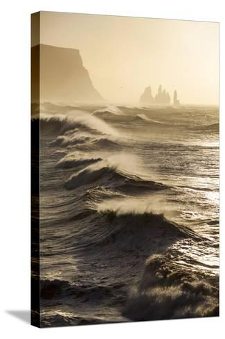 Iceland, Reynisfjara. Waves Breaking on Reynisfjara Beach-Katie Garrod-Stretched Canvas Print